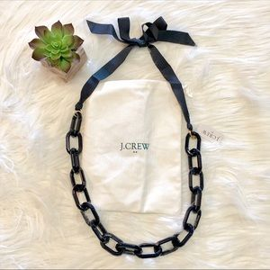 NWT J. Crew Navy Acrylic Link Ribbon Tie Necklace